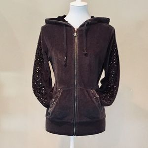 Miss Me Velour Hoodie With Embellishments